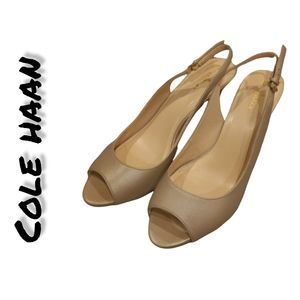 NWOB Cole Haan Gold Open Toe Ankle Strap